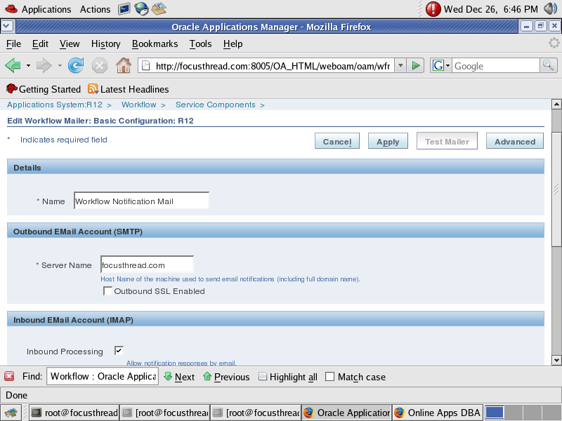 Workflow Notification Mailer Setup in Oracle Apps R12/12i - Oracle