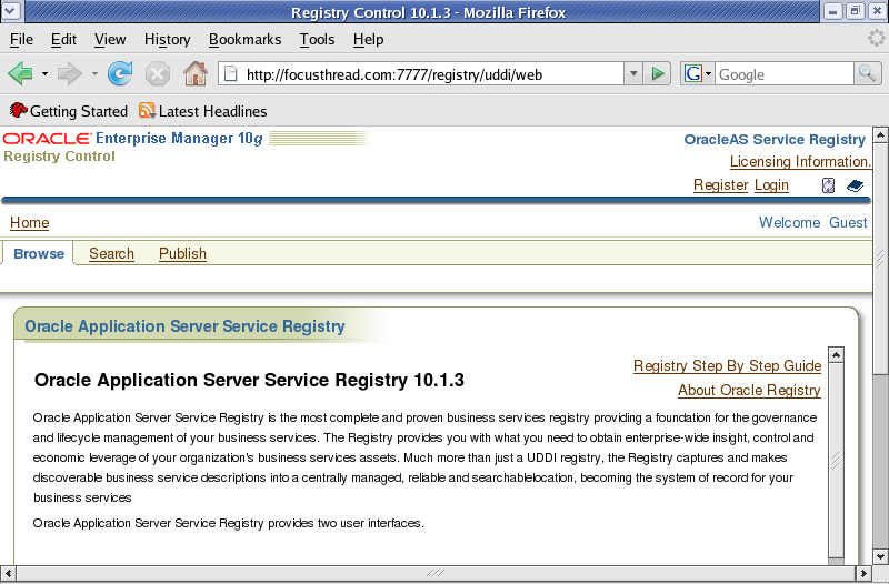 Oracle Application Server Service Registry : Installation - Oracle