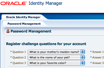 OIM 11g Challenge Questions (PCQ) for forgot password - Oracle ...