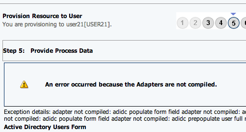 OIM : Assign AD resource : An error occurred because the Adapters
