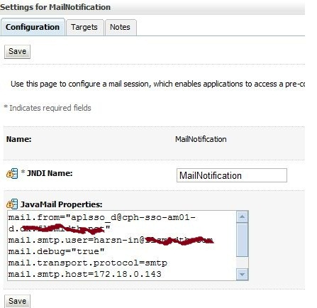 Configuring WebLogic Mail sessions, watches and