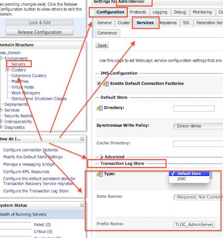 1Z0-133 Configure WebLogic Server Default Store for TLogs